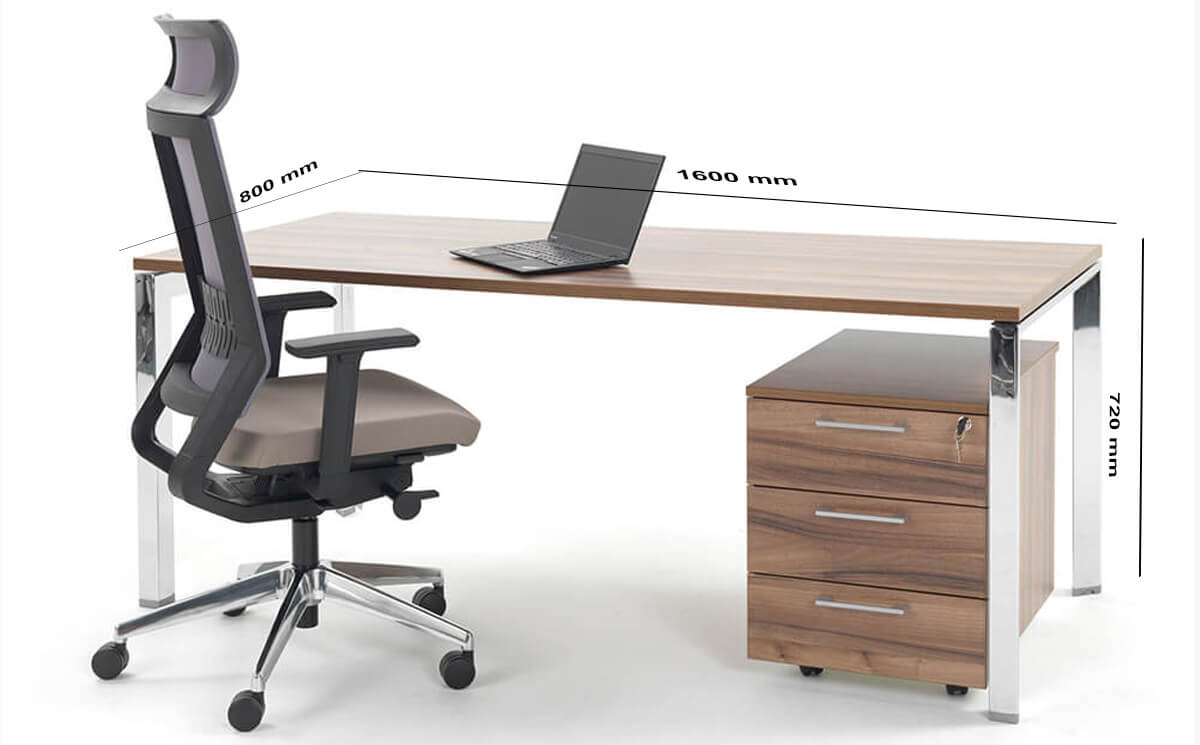 Size Ello Simple Executive Desk With Chrome Legs