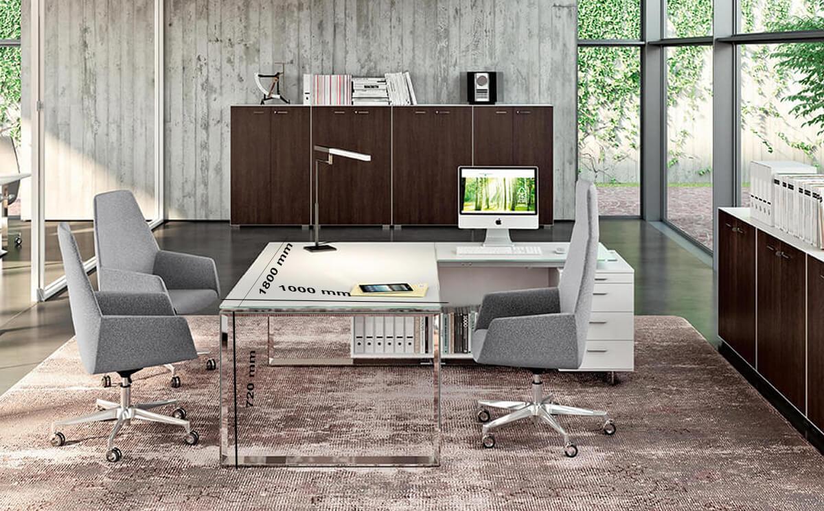 Size Enrique 3 Glass Top Ring Leg Executive Desk