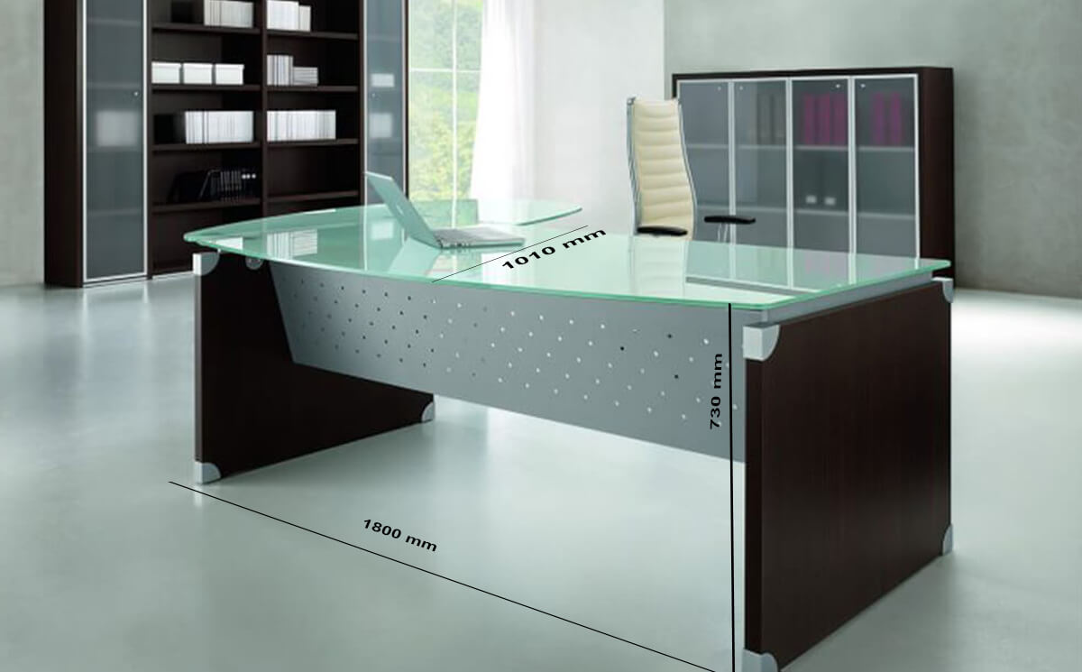 Size Linda L Shaped Glass Top Executive Desk With Return