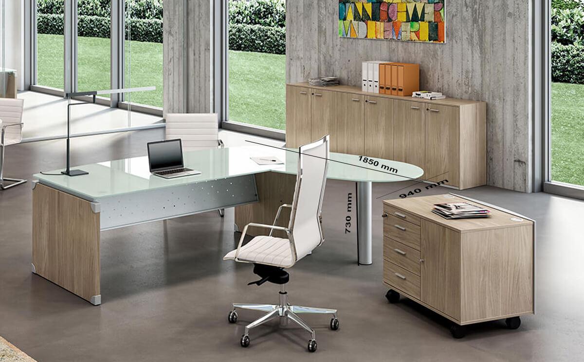 Size (return) Linda L Shaped Glass Top Executive Desk With Return