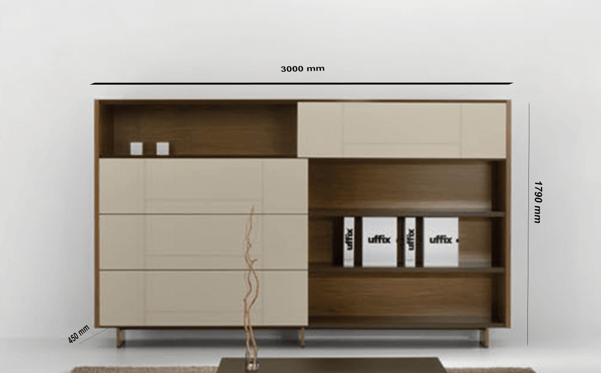 Size Darcey Bookcase With Sliding Doors