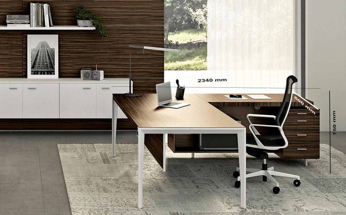 Size With Credenza Unit Buono 1 Sleek Executive Desk In Wood Veneer