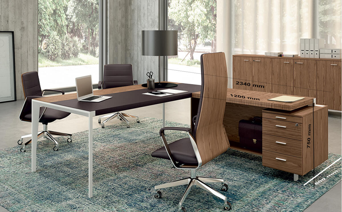 Size With Credenza Unit Buono 2 Sleek Executive Desk In Wood Veneer With Leather Inlay