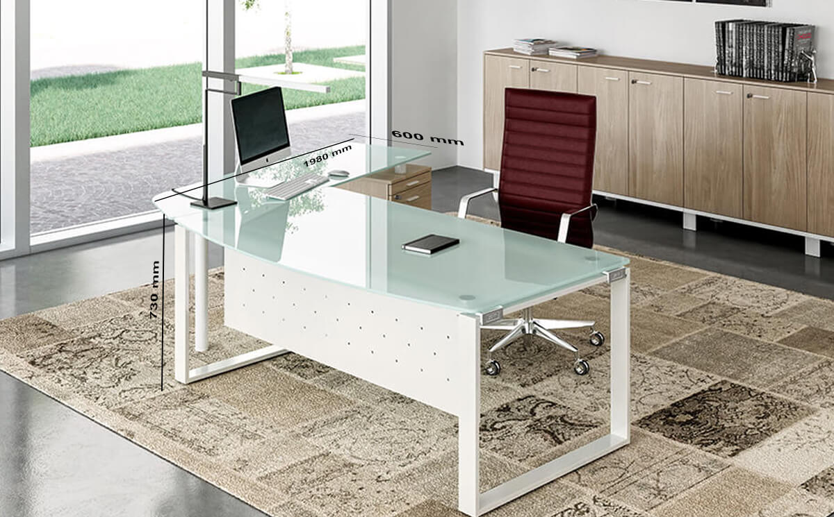 Size(return) Bonnie 1 – Glass Top Ring Leg Executive Desk With Rounded Front