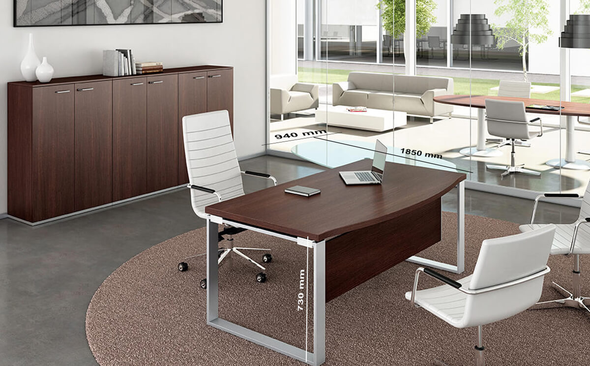 Size(return) Bonnie 2 Wooden Top Ring Leg Executive Desk With Rounded Front