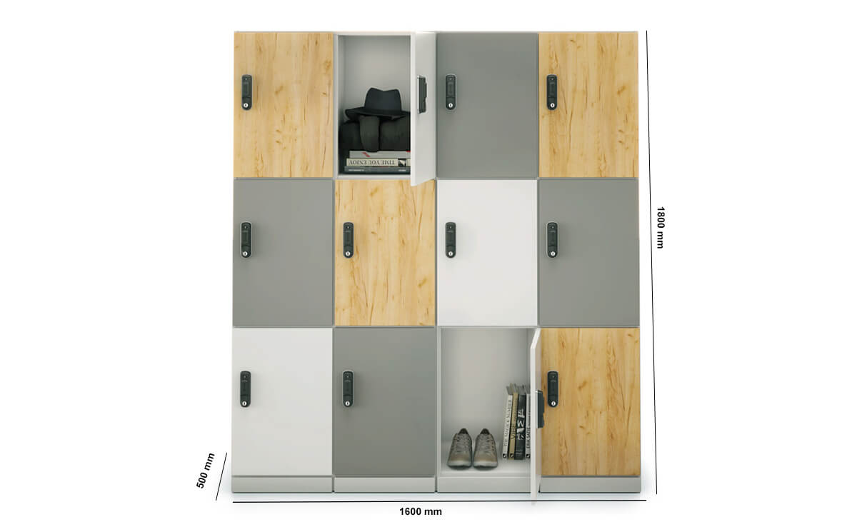 Stor Medium Storage With Double Width 3 Compartment Dimension Image