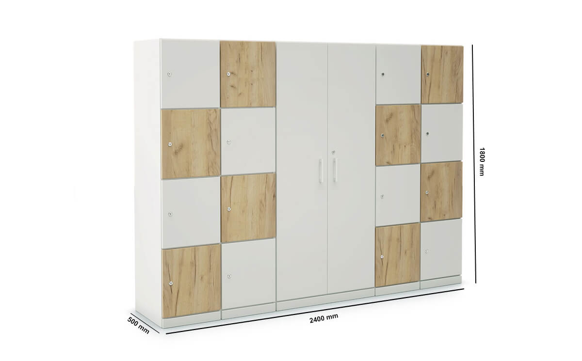 Stor Storage With Double Width 4 Compartment And Centeral Cupboard With 3 Shelve Dimension Image