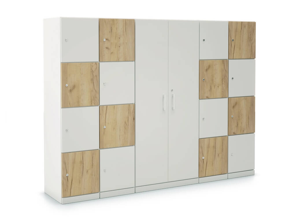 Stor Storage With Double Width 4 Compartment And Centeral Cupboard With