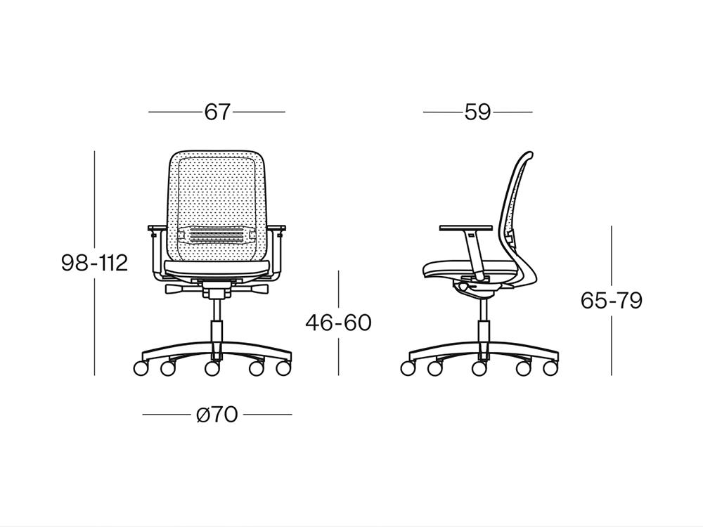 Size Bali Mesh Back Operative Chair