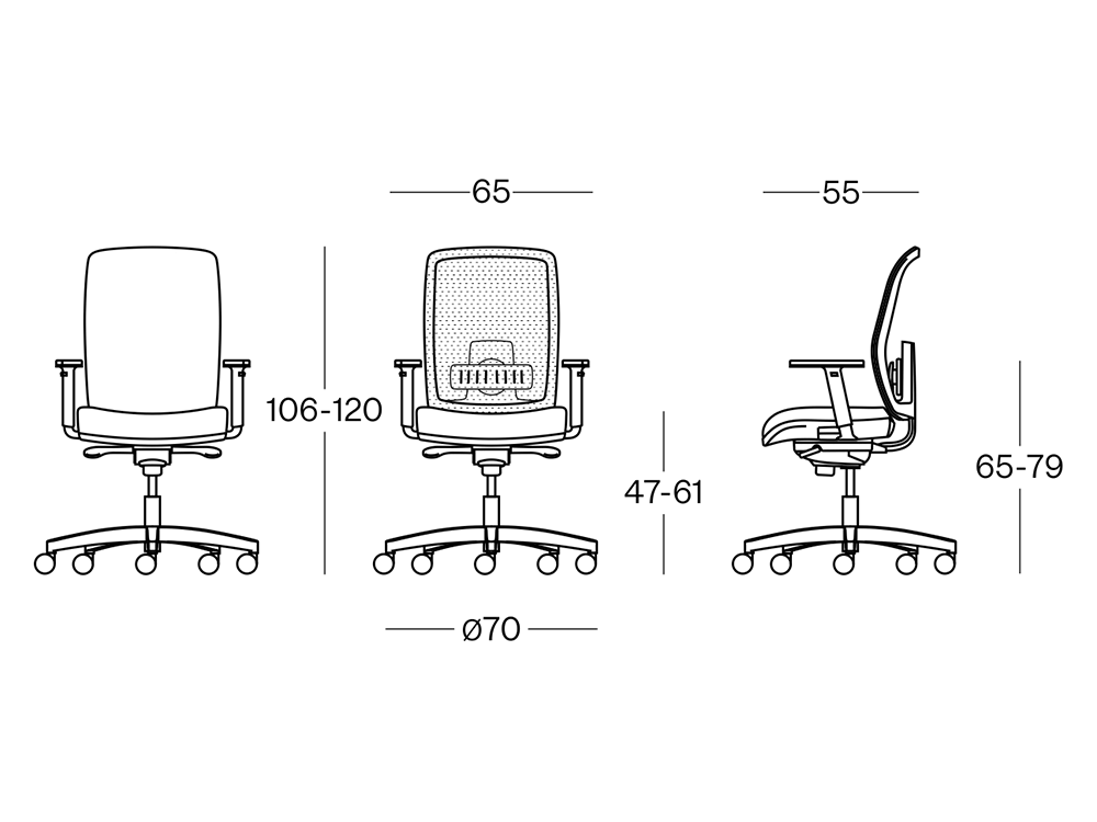 Size Cometa Mesh Back Operative Chair Without Headrest