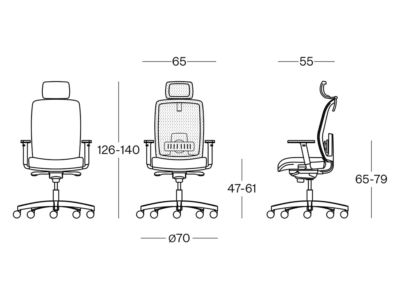 Size Cometa Mesh Back Operative Chair Witht Headrest