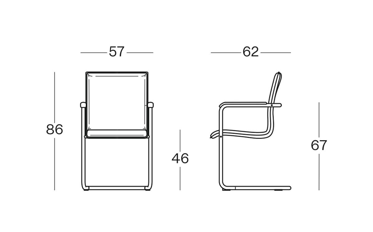 Size Cubika Cantilever Visitor Chair