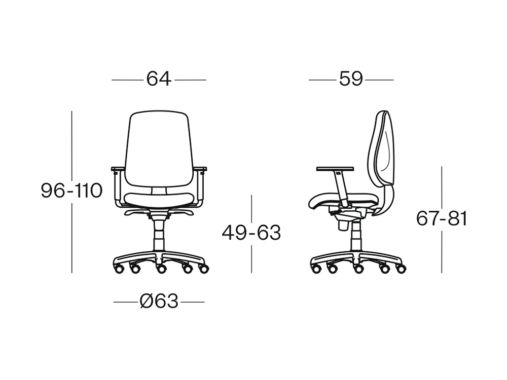 Size Cubox Operative Chair