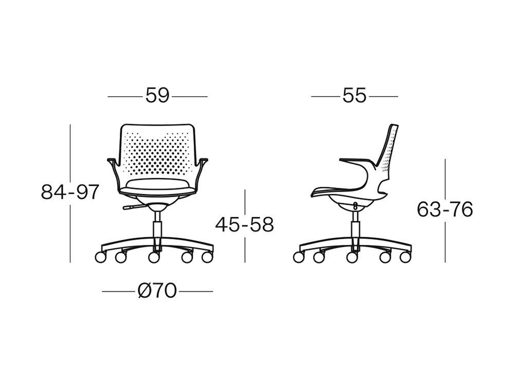 Size Groove Plastics Swivel Visitor Chair