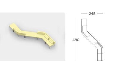 Size (lineare 2) Tour Modular Seating Sofa