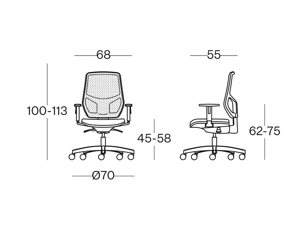 Size Salice Mesh Back Operative Chair