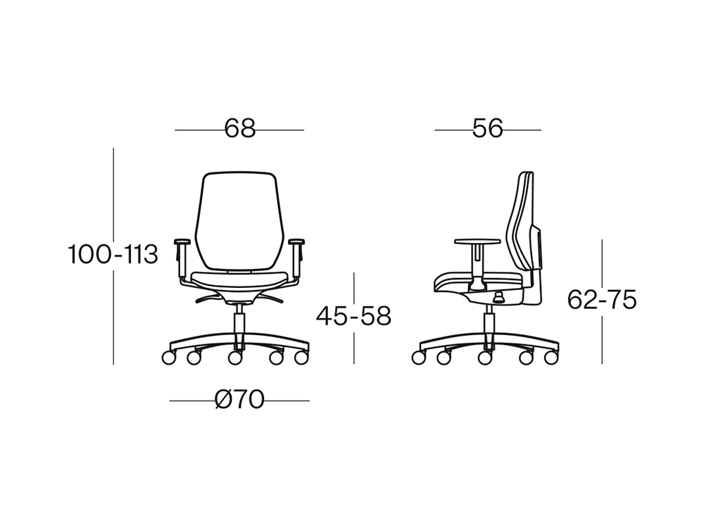 Size Salice Padded Back Operative Chair