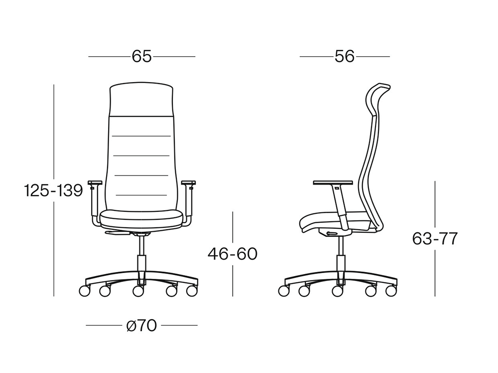 Size Grid – Mesh Back Executive Chair