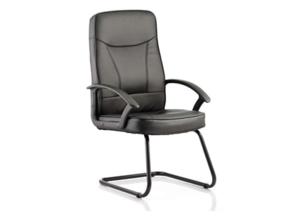 Alessia Black Soft Bonded Leather Cantilever Chair With Arms