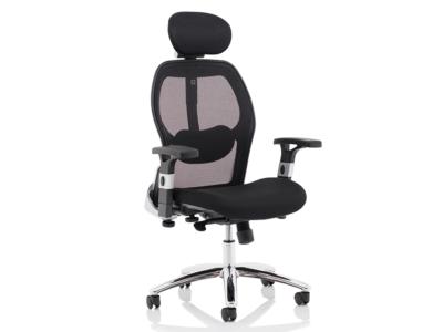 Bennett Mesh Back Black Fabric Chair