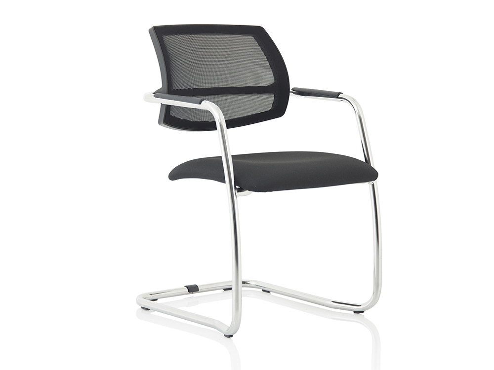 Calix Black Mesh Cantilever Visitor Chair