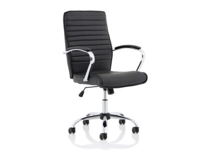 Ciana Black Leather Chair With Arms