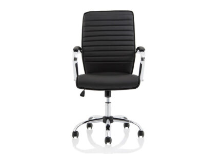 Ciana Black Leather Chair With Arms1