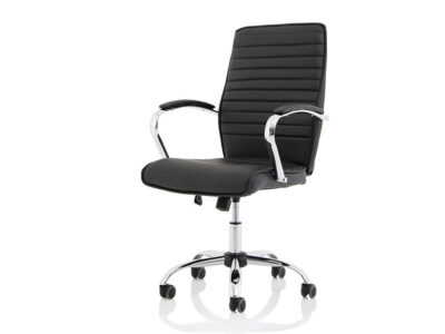 Ciana Black Leather Chair With Arms2