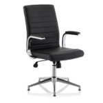Danny Executive Leather Chair Black Glides1