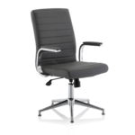 Danny Executive Leather Chair Grey Glides