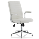 Danny Executive Leather Chair White Glides