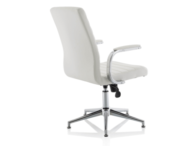 Danny Executive Leather Chair White Glides1