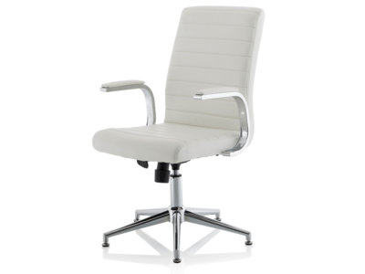 Danny Executive Leather Chair White Glides2
