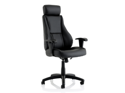 Dixon Black Leather Chair With Headrest