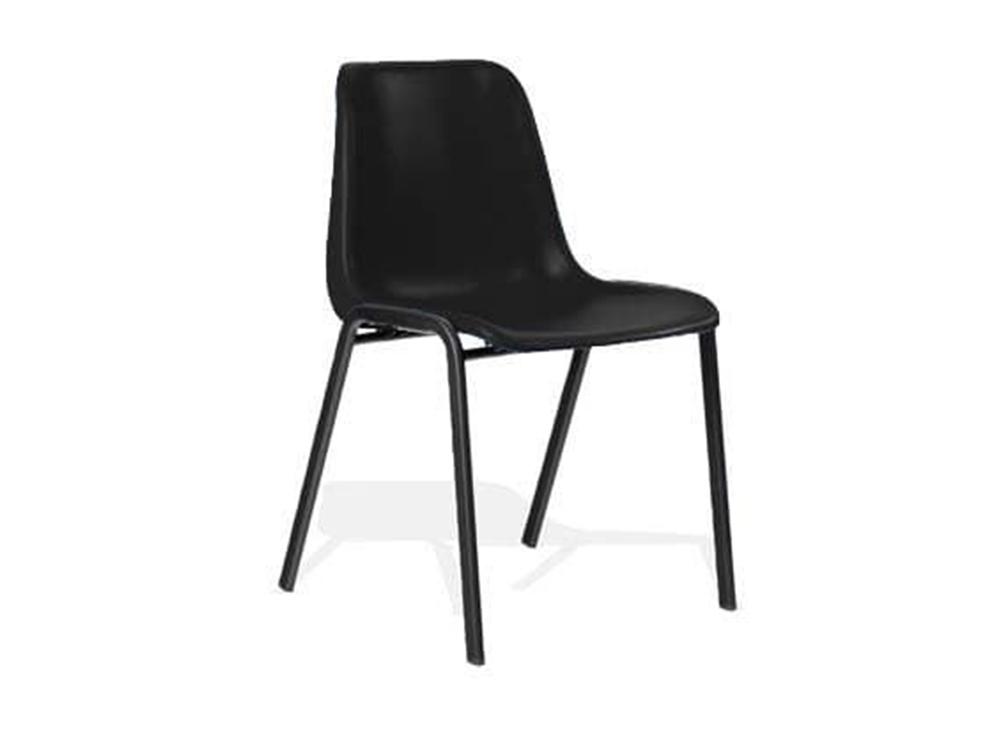 Duran Black Polypropylene Stacking Visitor Chair