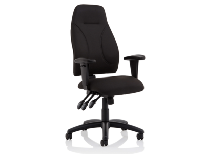 Elisa Black Fabric Chair With Height Adjustable Arms