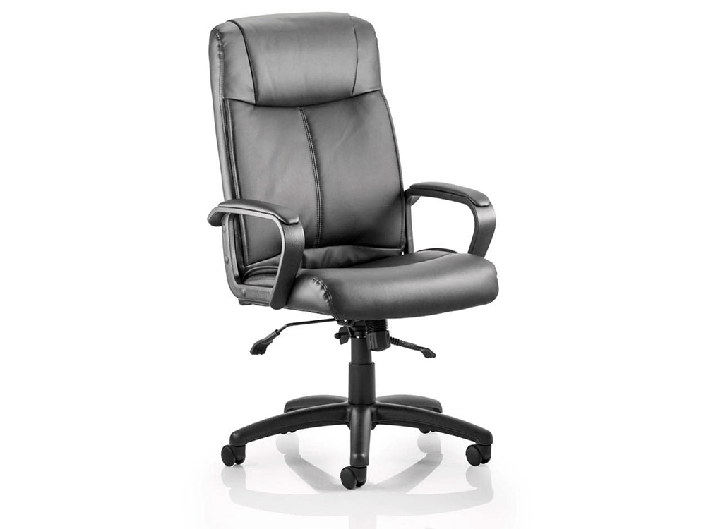 Glover Black Bonded Leather Executive Chair With Arms