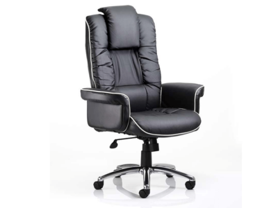 Laretta – Black Bonded Leather Executive Chair With Arms
