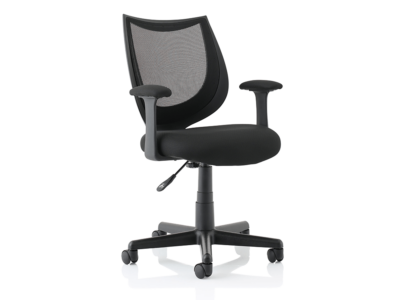 Lucca Black Mesh Chair With Fixed Arms