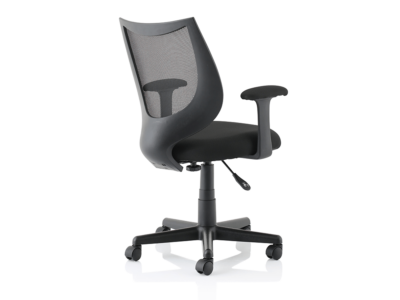 Lucca Black Mesh Chair With Fixed Arms1