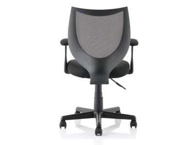 Lucca Black Mesh Chair With Fixed Arms2