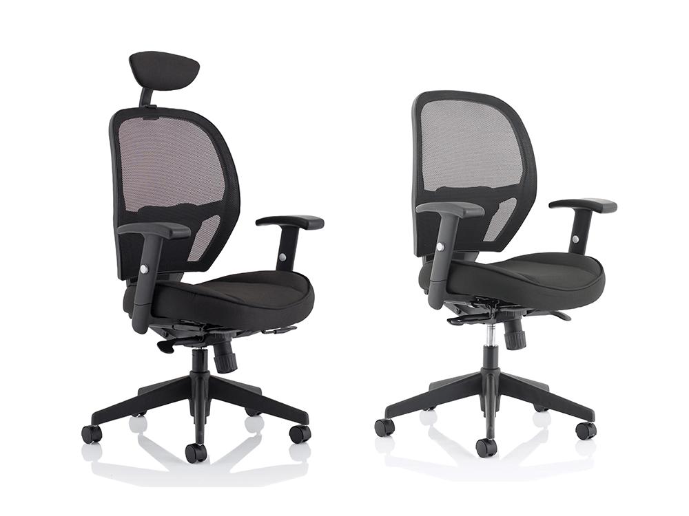 Luciana Medium Black Mesh Chair With Arms Main