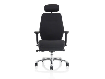 Roque Black Chair With Arms & Headrest Fabric1
