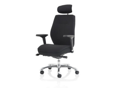 Roque Black Chair With Arms & Headrest Fabric2