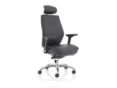 Roque Black Chair With Arms & Headrest Leather