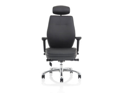 Roque Black Chair With Arms & Headrest Leather1