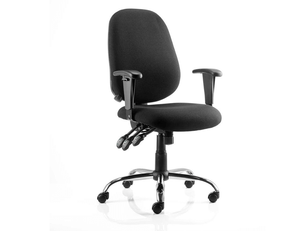 Rosa Black Fabric Operator Chair With Arms