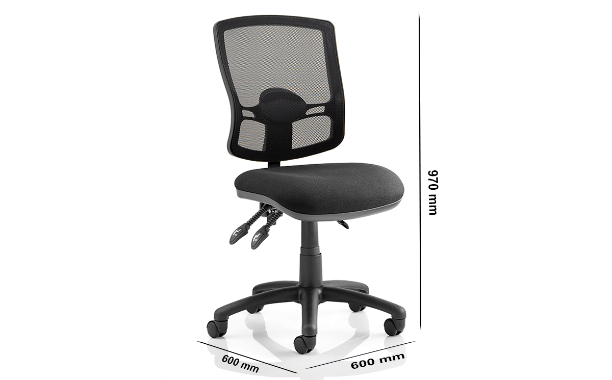 Size Alessa Mesh Back Black Chair Without Arms