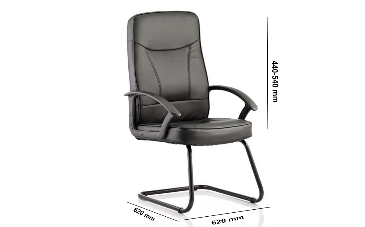 Size Alessia Black Soft Bonded Leather Cantilever Chair