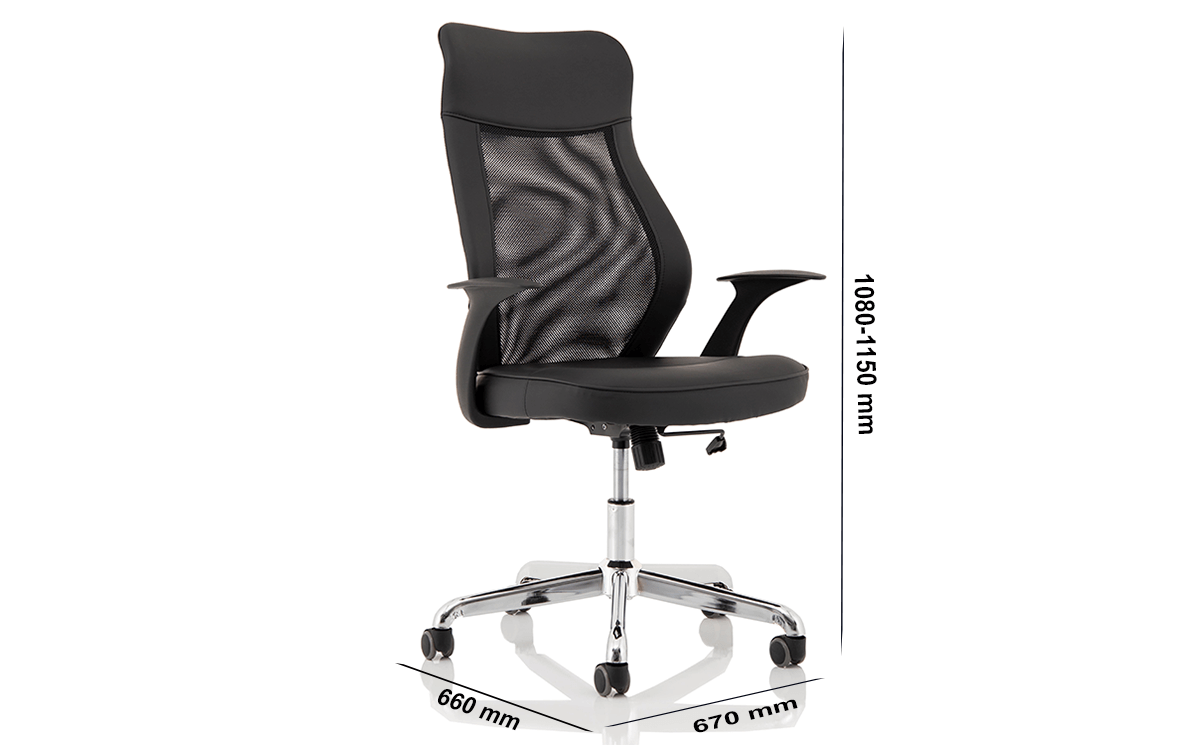 Size Angelica – Mesh And Leather High Back Operator Chair